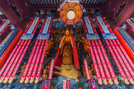jade buddha temple: SHANGHAI, CHINA - OCT 24, 2014: The Jade Buddha Temple is a Buddhist temple in Shanghai, China. The current temple draws from both the Pure Land and Chan traditions of Mahayana Buddhism.