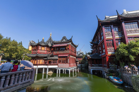 An old Chinese building in Yuyuan Garden in Shanghai, China.