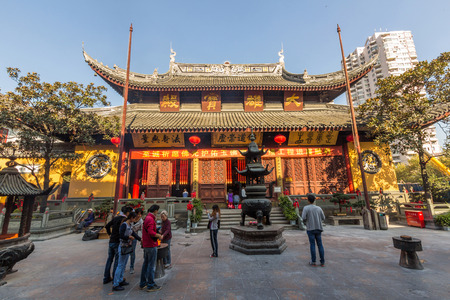jade buddha temple: The Jade Buddha Temple is a Buddhist temple in Shanghai, that houses two jade Buddha statues which had been brought from Burma by a monk named Huigen.