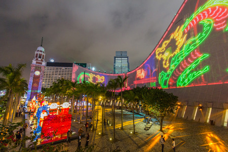 urban culture: Hong Kong Pulse 3D Light Show at Open Piazza, Hong Kong Cultural Centre, Tsim Sha Tsui Editorial