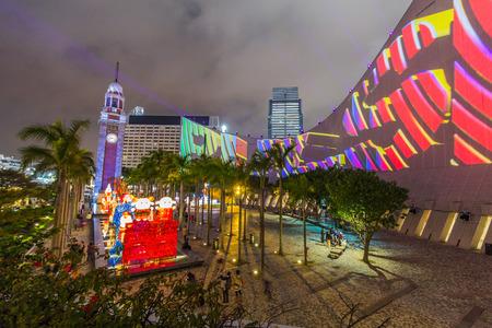 Hong Kong Pulse 3D Light Show at Open Piazza, Hong Kong Cultural Centre, Tsim Sha Tsui Editorial