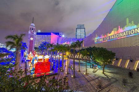 three dimensions: Hong Kong Pulse 3D Light Show at Open Piazza, Hong Kong Cultural Centre, Tsim Sha Tsui Editorial