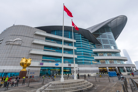 The Hong Kong Convention and Exhibition Centre in Golden Bauhinia Square. It is one of the two major convention and exhibition venues in Hong Kong, along with AsiaWorld-Expo. Imagens - 37797654