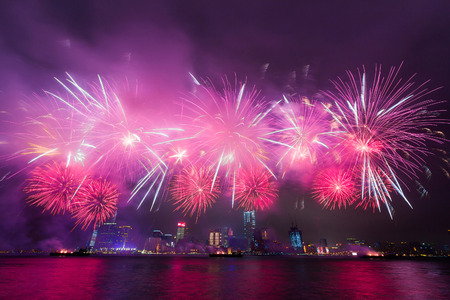Fireworks at Victoria Harbor in Hong Kong