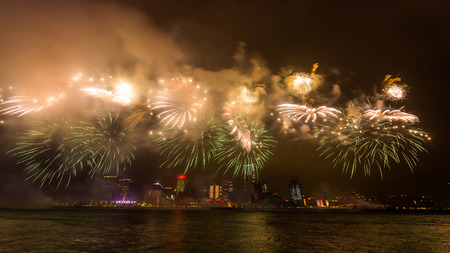 victoria harbor: New Year Fireworks at Victoria Harbor in Hong Kong Stock Photo