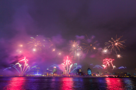 victoria harbor: New Year Fireworks at Victoria Harbor in Hong Kong.
