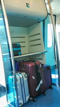 storage facility: Luggage storage facility in Hong Kong Airport Express trains. It links the urban areas of Hong Kong to Hong Kong International Airport.