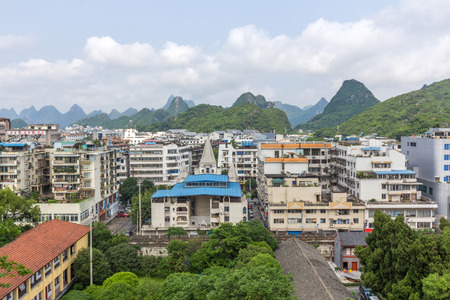 shantytown: View of Guilin China from the top of Solitary Beauty Peak in Jingjiang Prince City