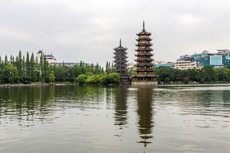 temple tank: Sun and Moon Twin Pagodas in Guilin China