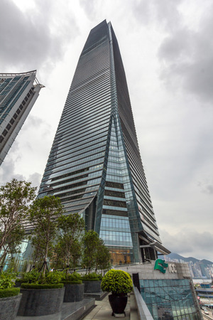 A closer view of International Commerce Center ICC. It is a 108storey 484 m commercial skyscraper completed in 2010 in West Kowloon Hong Kong.