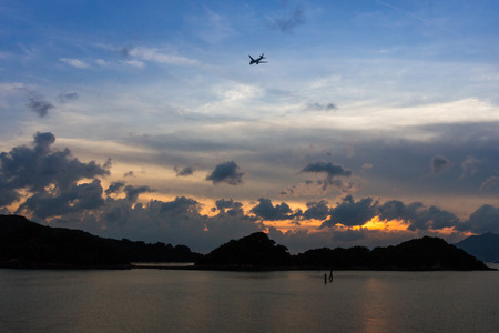 sok: Beautiful sunset over Cheung Sok in Sunny Bay Hong Kong Stock Photo
