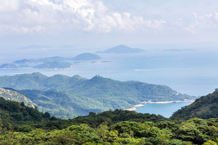 lantau: Misty view of Shek Pik Reservoir in Lantau Island, Hong Kong