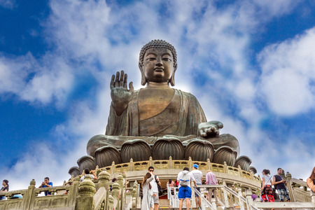 Tian Tan Buddha aka the Big Buddha is a large bronze statue of a Sakyamuni Buddha and located at Ngong Ping Lantau Island in Hong Kong. 新聞圖片