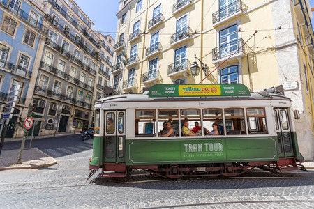 electrico: Lisbon tram tour in historical route. The Lisbon tramway network operates since 1873 and presently comprises five urban lines.