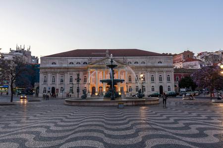 baixa: D. Maria II National Theatre in Rossio, Lisbon, Portugal. The historical theatre is one of the most prestigious Portuguese venues.