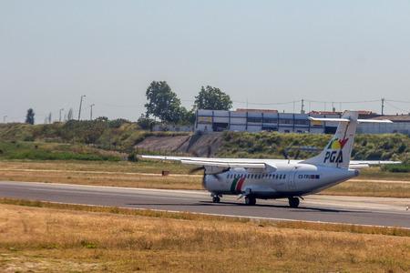 departing: Portugalia Airlines flight departing from Lisbon Portela Airport in Lisbon.