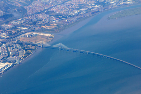 sattelite: Aerial view of Vasco da Gama bridge in Lisbon, Portugal Stock Photo