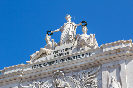 baixa: Augusta street monument in Lisbon, Portugal. Its located on top of the arch next to Commerce square.