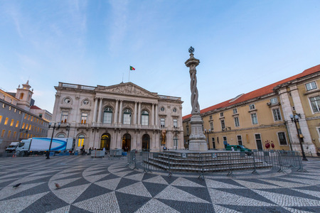 appeals: Municipal Square in Lisbon, Portugal. It is a small peaceful square where the City Hall, Appeals Court and Navy Arsenal stand.