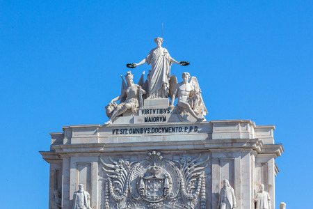 augusta: Augusta street monument in Lisbon, Portugal. Its located on top of the arch next to Commerce square.
