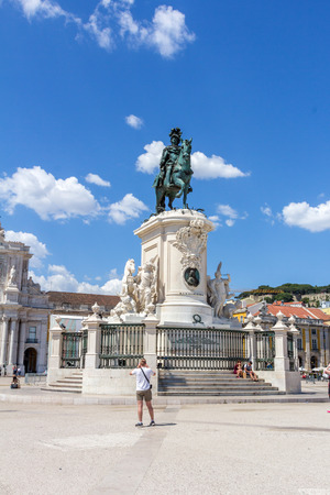 symbolically: Statue of King Jose I. The King on his horse is symbolically crushing snakes on his path. It s located in Commerce Square, the city of Lisbon, Portugal.