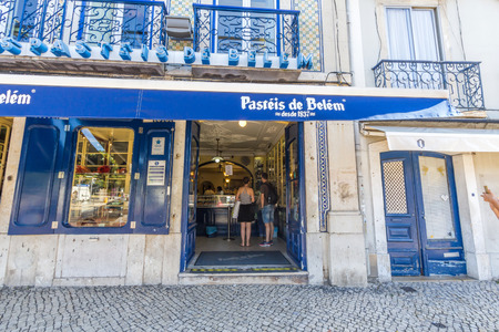 The famous Pasteis de Belem, Egg Custard Tart, pastry shop in Lisbon. Over 20.000 tarts are sold daily.