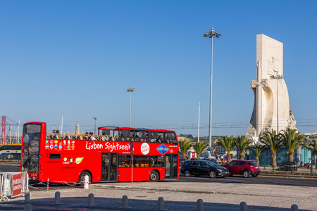 discoverer: Lisbon sightseeing bus stopped next to Monument to the Discoveries . This is one of the best way to enjoy most of Lisbon in a short time.