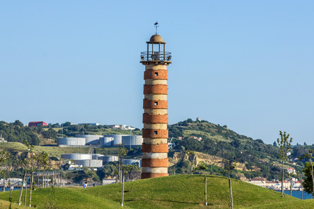 navigational light: An old abandoned lighthouse located in Belem, Lisbon, Portugal Stock Photo