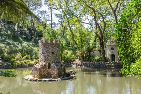 the pena national palace: Duck-house in the valley of the lakes in the park of Pena National Palace in Sintra, Portugal