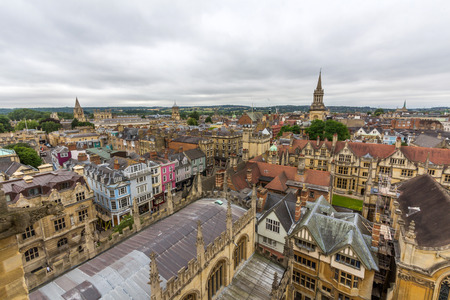 View of Exeter, Lincoln, and Brasenose Colleges in the University of Oxford from the tower of University Church of St Mary the Virgin, Oxford, England. Editorial