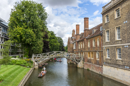 punter: Punting in summer on the river Cam. There are several companies on the Cam operating tours and hiring punts to visitors.