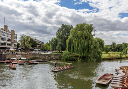 punting: Punting in summer on the river Cam in Cambridge, England. DoubleTree hotel by Hilton can be seen in the background.
