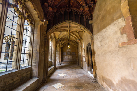corridors: Old corridors of Christ Church, University of Oxford, England. It is part of the original Priory of St Frideswide which stood before the college was built.