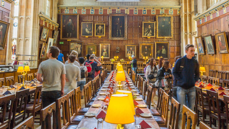 The great hall of Christ Church, University of Oxford, England. It is the center of college life where academic community congregates to dine each day.