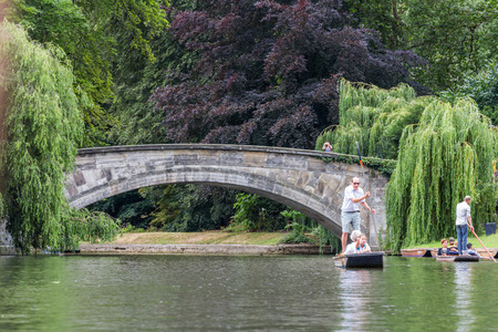 punting: Punting in summer on the river Cam in Cambridge, England.