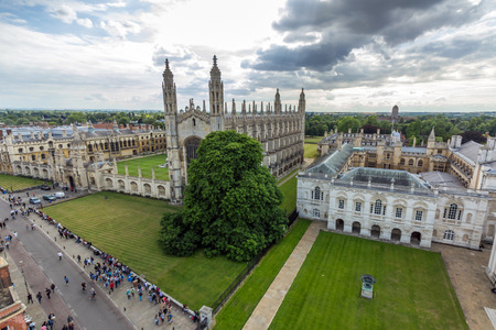 View of Cambridge University King's College Chapel and the Old Schools from the top of University Church of St Mary the Great in Cambridge, England.