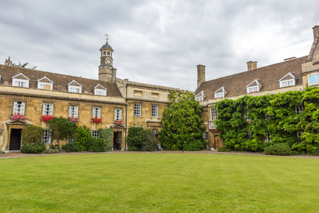 First court and Masters lodge of Christs College in the University of Cambridge, England. The college was founded by Lady Margaret Beaufort in 1505.