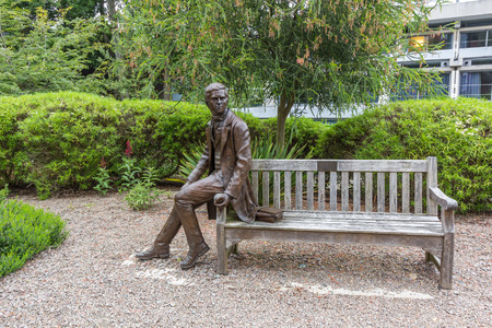 contributions: Statue of Charles Darwin at Christs College, University of Cambridge, England. He was an English naturalist, best known for his contributions to evolutionary theory.