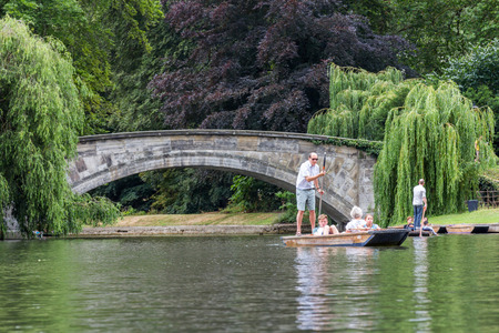 punt: Punting in summer on the river Cam. There are several companies on the Cam operating tours and hiring punts to visitors.