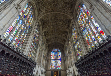 john henry: Interior of Kings college chapel in the University of Cambridge, England. It features the worlds largest fan vault, constructed by master mason John Wastell.