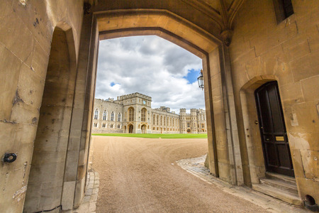 king edward: View of the state apartments from George IV gateway of Windsor Castle. It is a royal residence at Windsor in the English county of Berkshire.