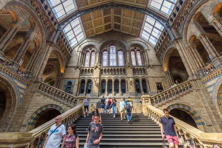 exhibiting: Interior view of the Natural History Museum in London, England. It is a museum exhibiting a vast range of specimens from various segments of natural history. Editorial