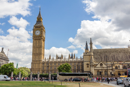 parliament square: View of UK Parliament and Big Ben from Parliament Square in London, UK