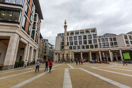 stock vista: Paternoster Square in London, England. It is now the location of the London Stock Exchange which relocated there from Threadneedle Street in 2004.