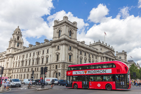 treasury: Parliament Square in London, UK. This building houses Her Majestys Treasury, HMRC, and Churchill War Rooms.