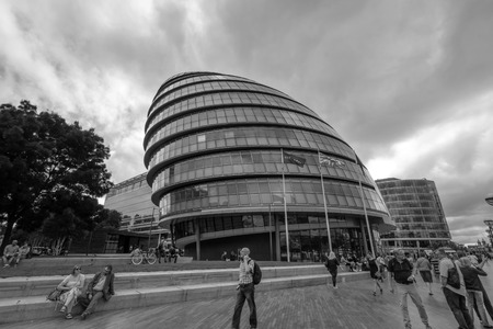 City Hall in London, UK. It is the headquarters of the Greater London Authority, which comprises the Mayor of London and the London Assembly.