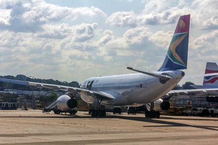 A South African Airways airplane at London Heathrow Airport. Heathrow is the busiest airport in the United Kingdom and the busiest airport in Europe by passenger traffic.