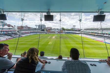 media center: View from JP Morgan Media Center in Lords Cricket Ground in London, England. It is referred to as the home of cricket and is home to the worlds oldest cricket museum. Editorial