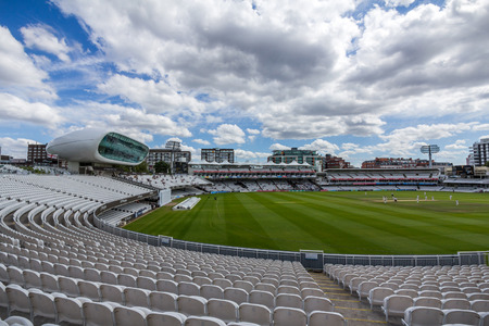 Lords Cricket Ground in London, England. It is referred to as the home of cricket and is home to the worlds oldest cricket museum. 新聞圖片