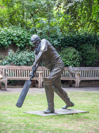 cricket: Statue of W.G. Grace at Lords cricket ground in London, UK. He was an English amateur cricketer who is widely considered one of its greatest-ever players. Editorial